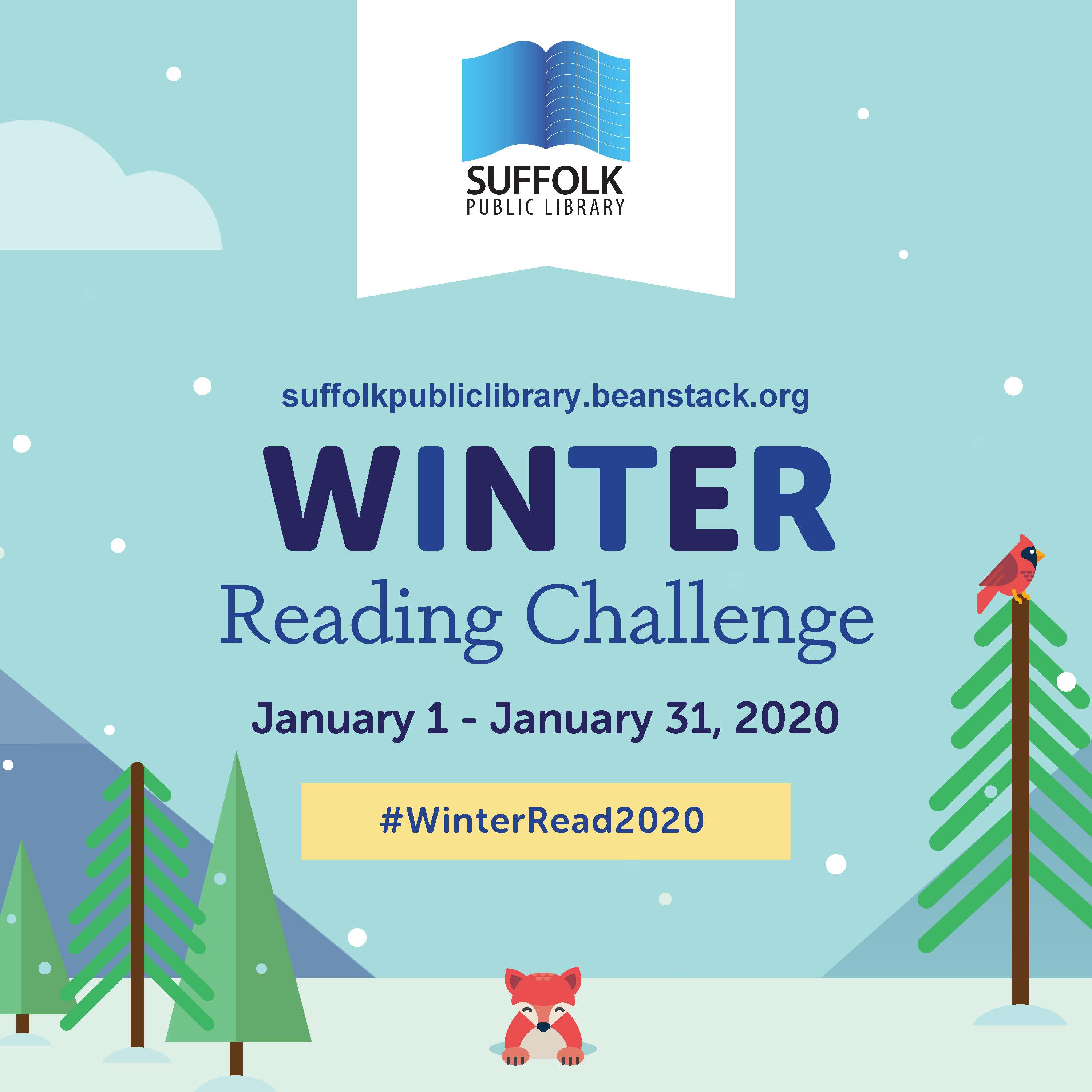 Winter Reading Challenge Graphic featuring a winter backdrop with snow on trees and a fox climbing o