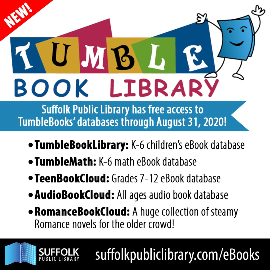 TumbleBooks Announcement Post with graphic featuring anthropomorphic book