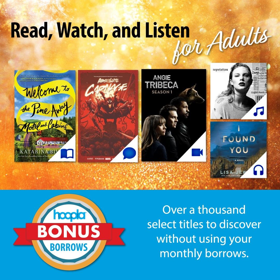 hoopla bonus borrows graphics featuring cover images of adult books and audiobooks