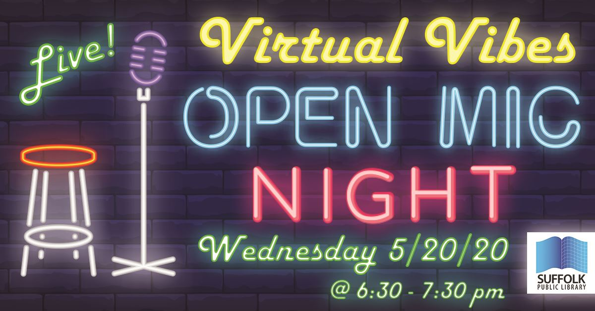 Virtual Vibes Open Mic Night graphic featuring neon glowing mic stand and stool