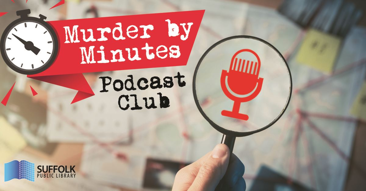 Murder by Minutes Podcast Club Promo graphic with microphone image in front of detective board with