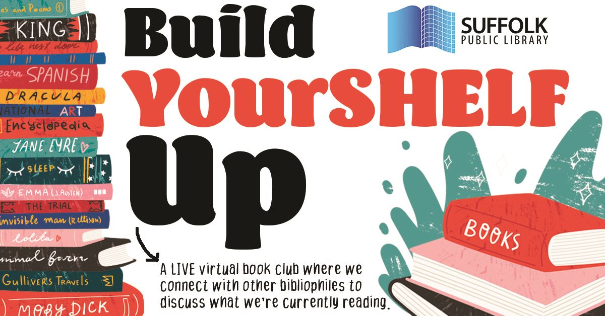 Build Yourshelf Up Book Club graphic featuring stacks of colorful books