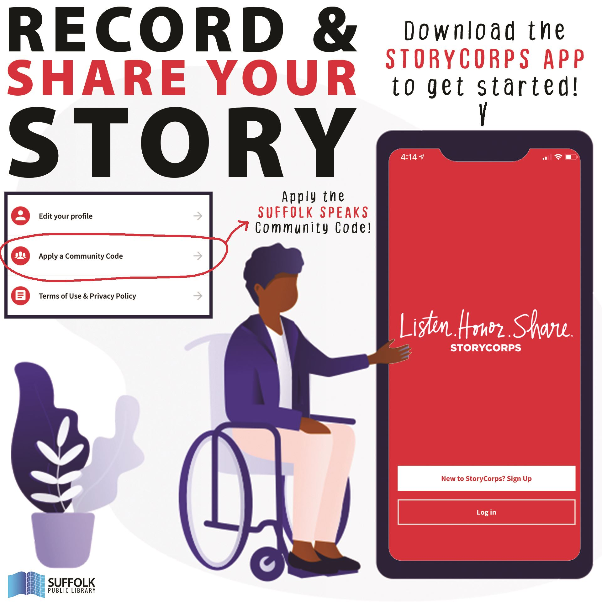 Graphic of woman in wheelchair pointing at enlarged smartphone device with StoryCorps app displayed