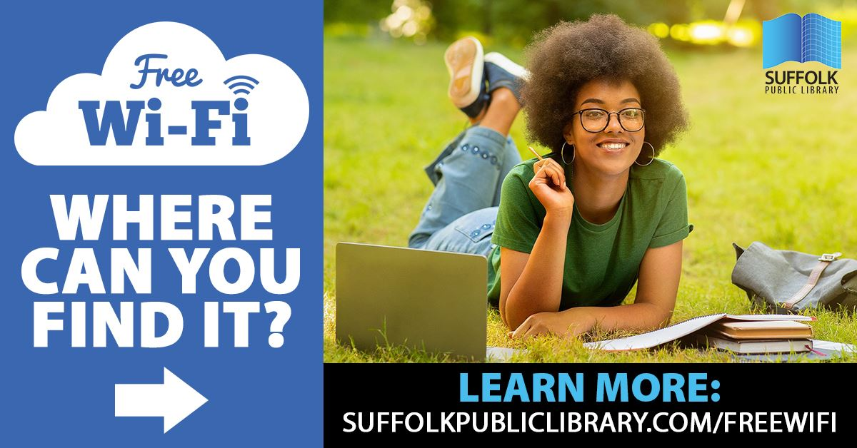 Free WiFi in Community News Feed Promo featuring teen girl lounging in park with books and laptop
