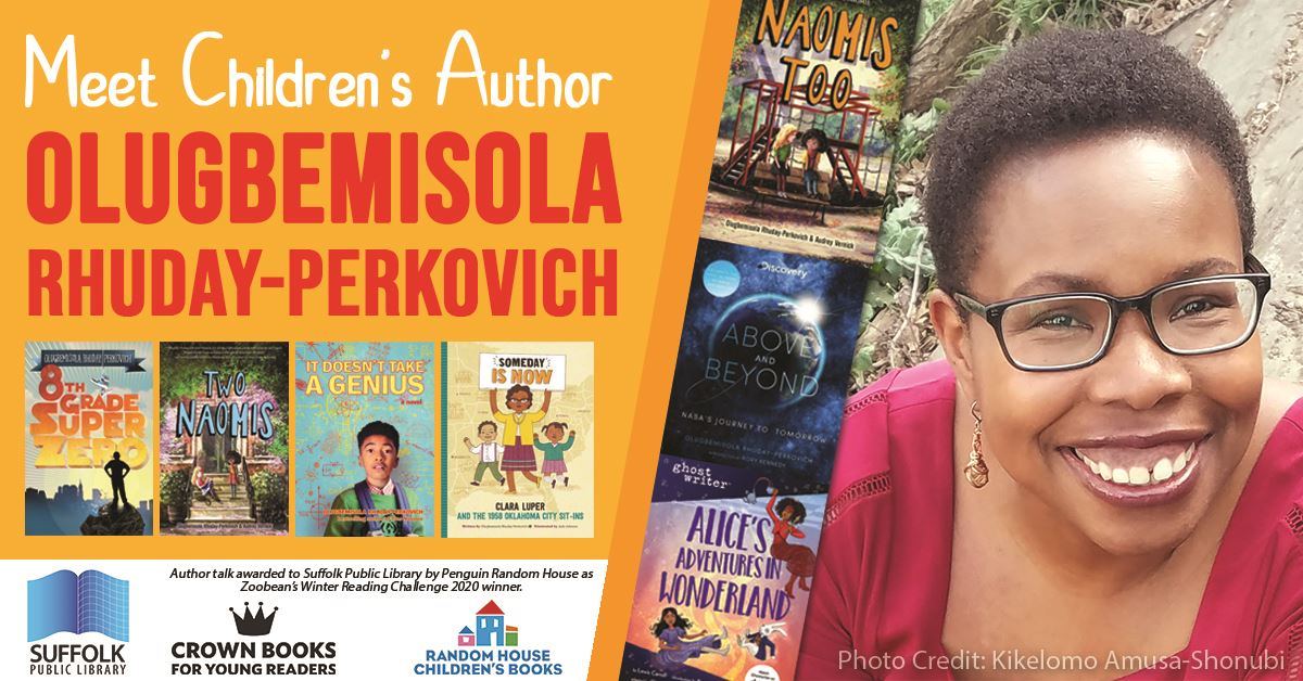 Author Olugbemisola Rhuday-Perkovich with cover images of her books