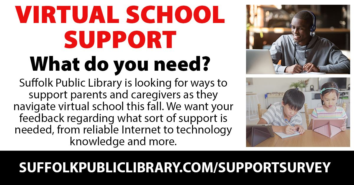 virtual school support graphic featured photo of teen boy with headphones smiling at laptop